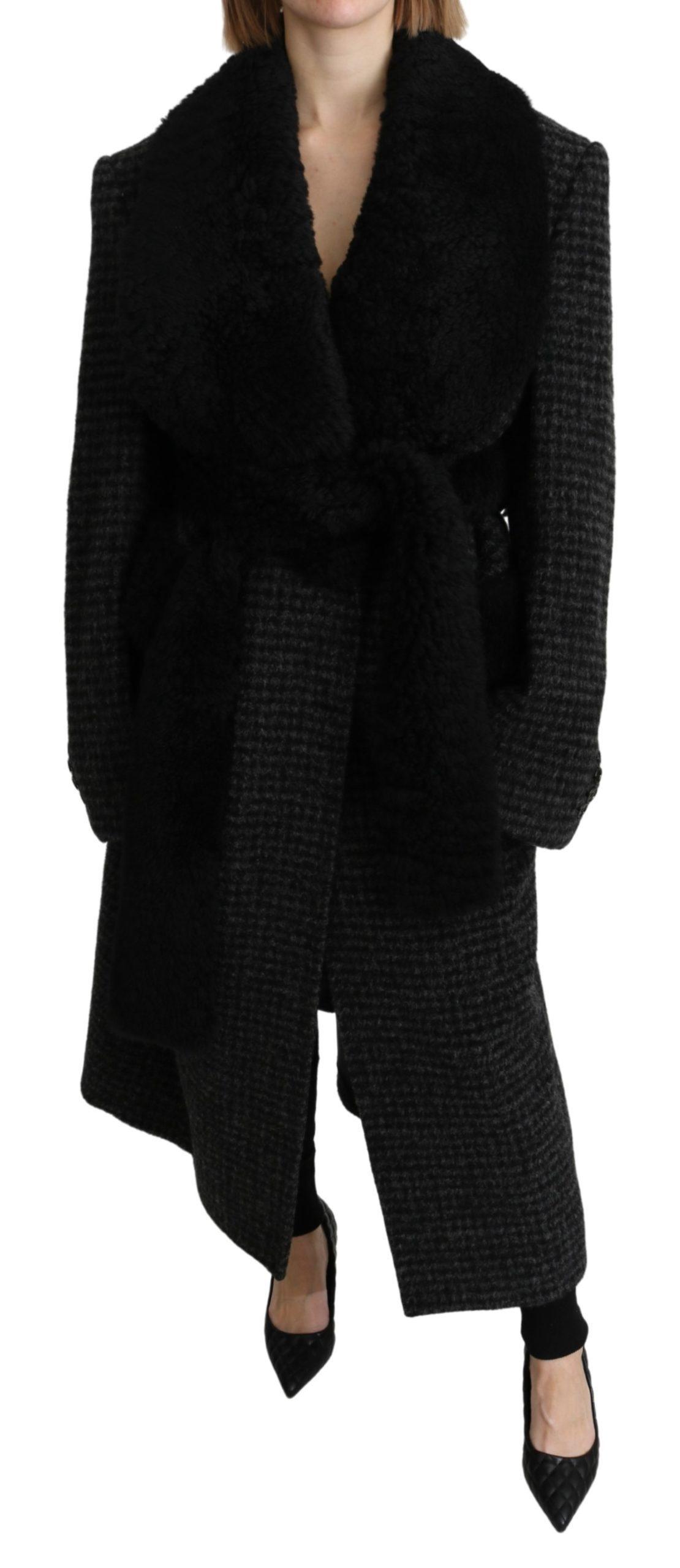 Dolce & Gabbana Women's Fur Blazer Trenchcoat Alpaca Jacket Black JKT2639 - IT40 | M