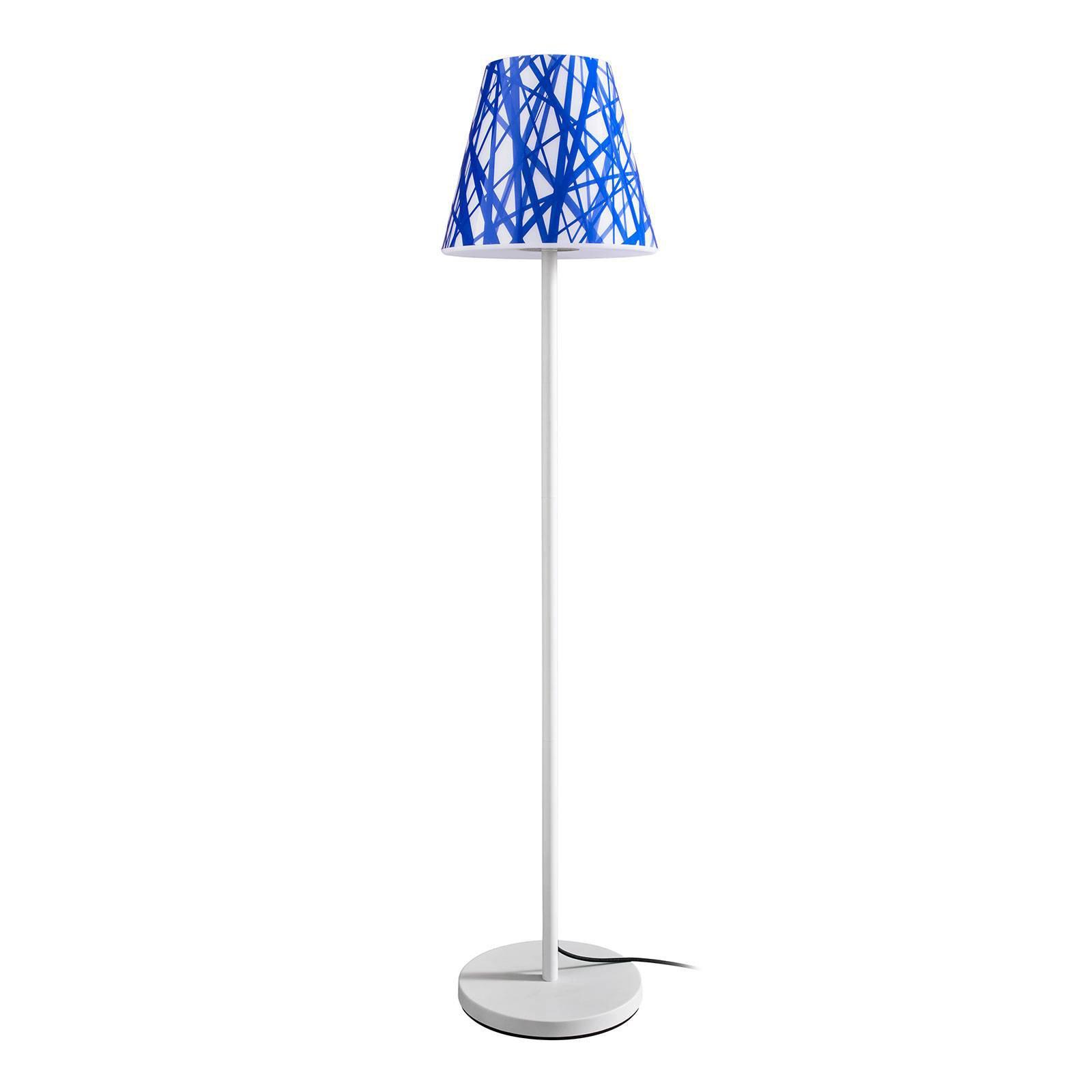 Gulvlampe Swap Outdoor, lampeskjerm med blå linjer