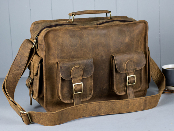 Boys And Girls Large Vintage Leather Flight Bag Brown 15 Inch