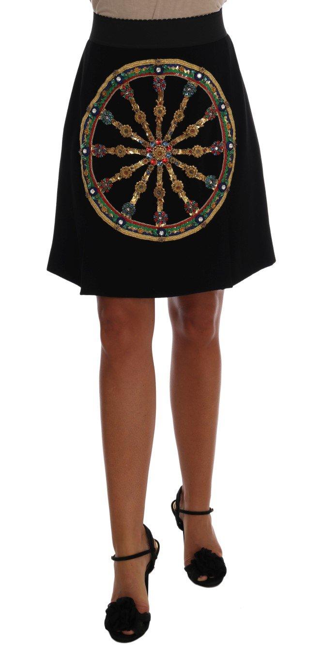 Dolce & Gabbana Women's Embellished Wheel Wool Skirt Black SKI1052 - IT46 XL