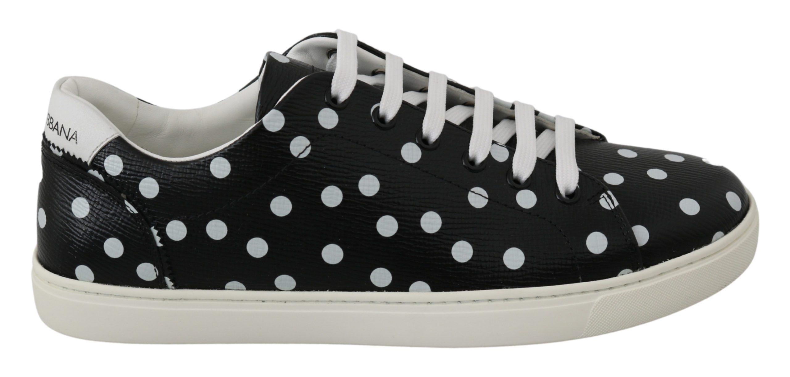 Dolce & Gabbana Women's Leather Polka Dots Trainer Black LA6449 - EU40/US9.5