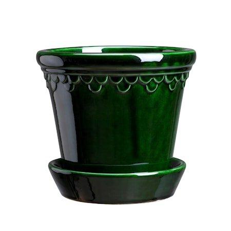Copenhagen Potte med fat Glazed Green Emerald 21 cm