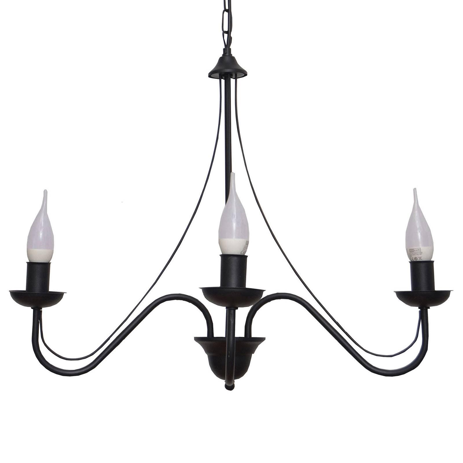Kattokruunu Malbo 3-lamppuinen, musta
