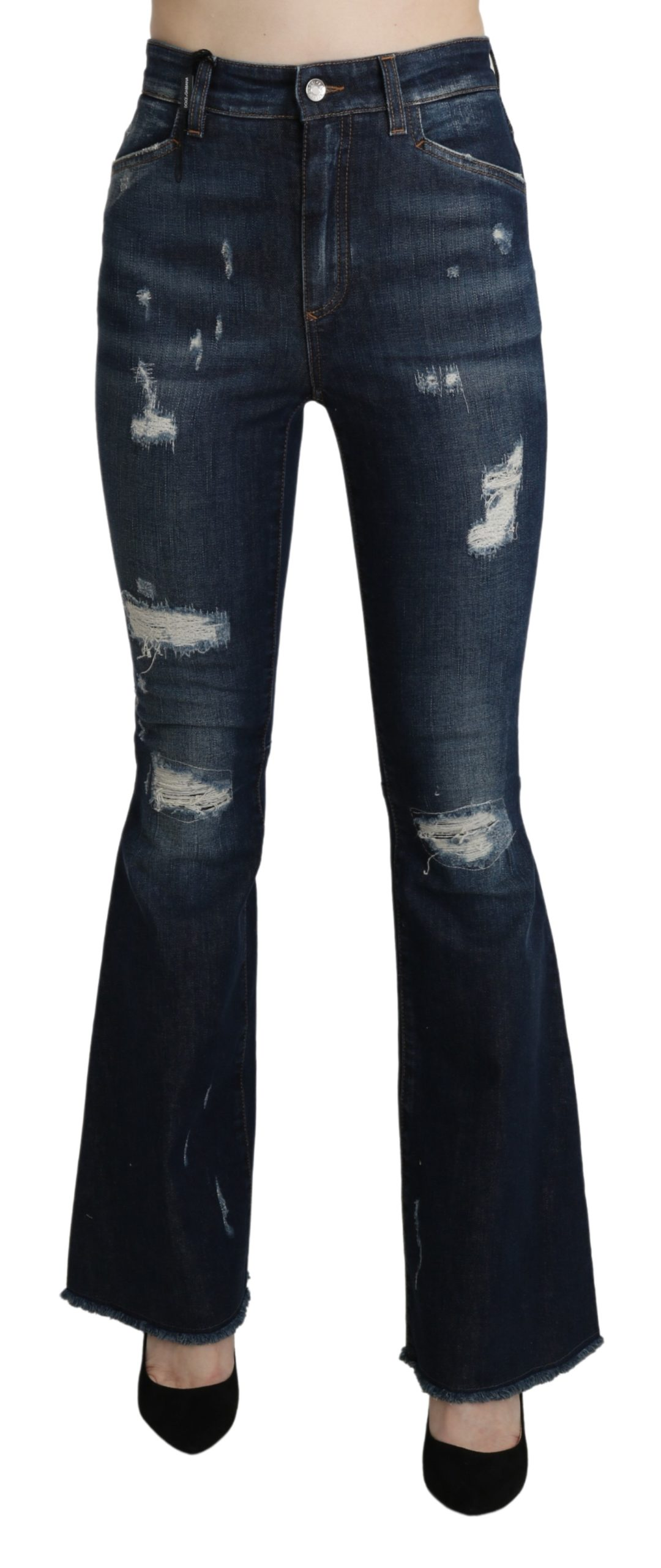 Blue Denim Cotton Stretch Flared Jeans - IT38|XS
