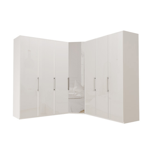 Garderobe Atlanta - Hvit 150 + hjørne + 150, 216 cm, Hvitt glass
