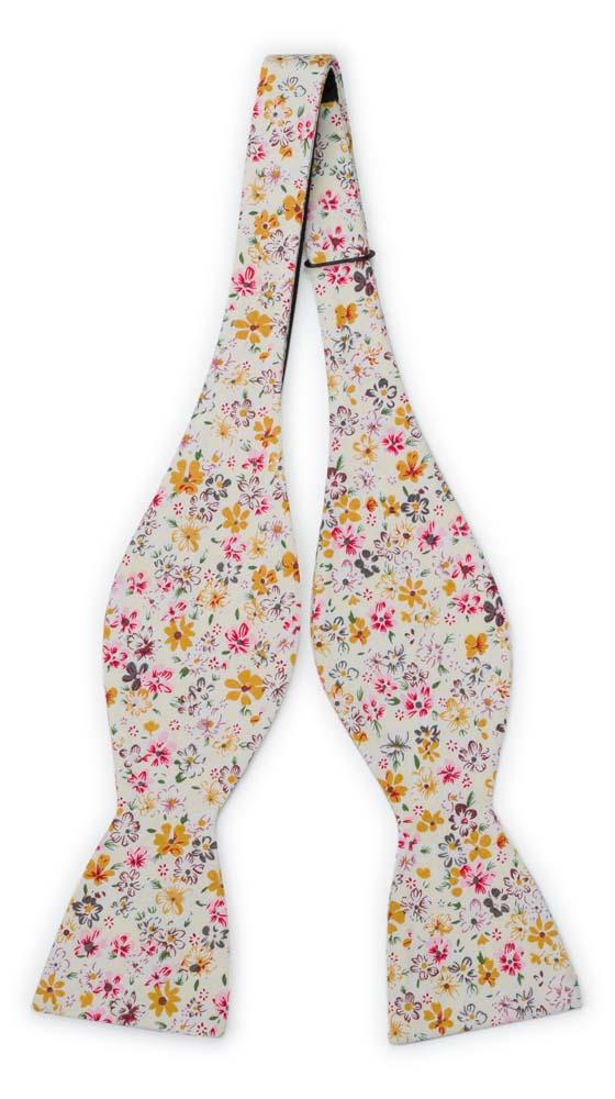 Bomull Sløyfer Uknyttede, Blek gul & varm rosa, honning og hvite blomster