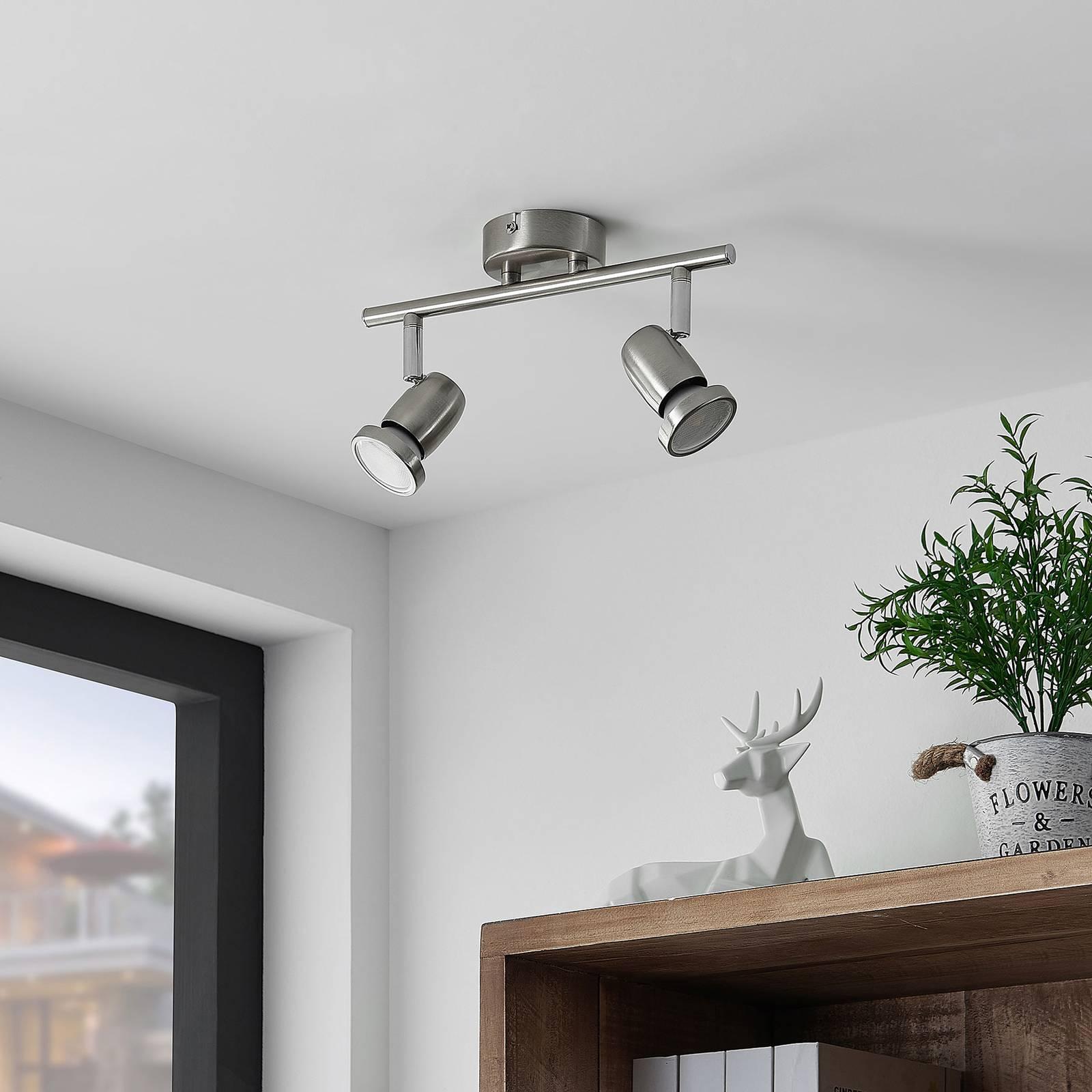 ELC Simano-LED-kattokohdevalo nikkeli 2-lamppuinen