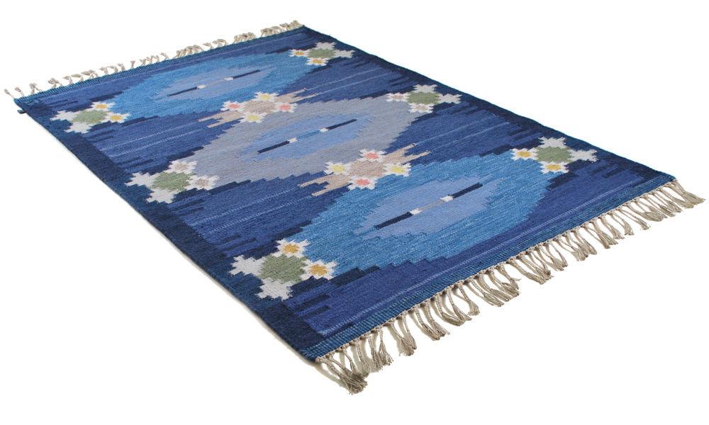 Örbyhus blå - håndvevd ullteppe