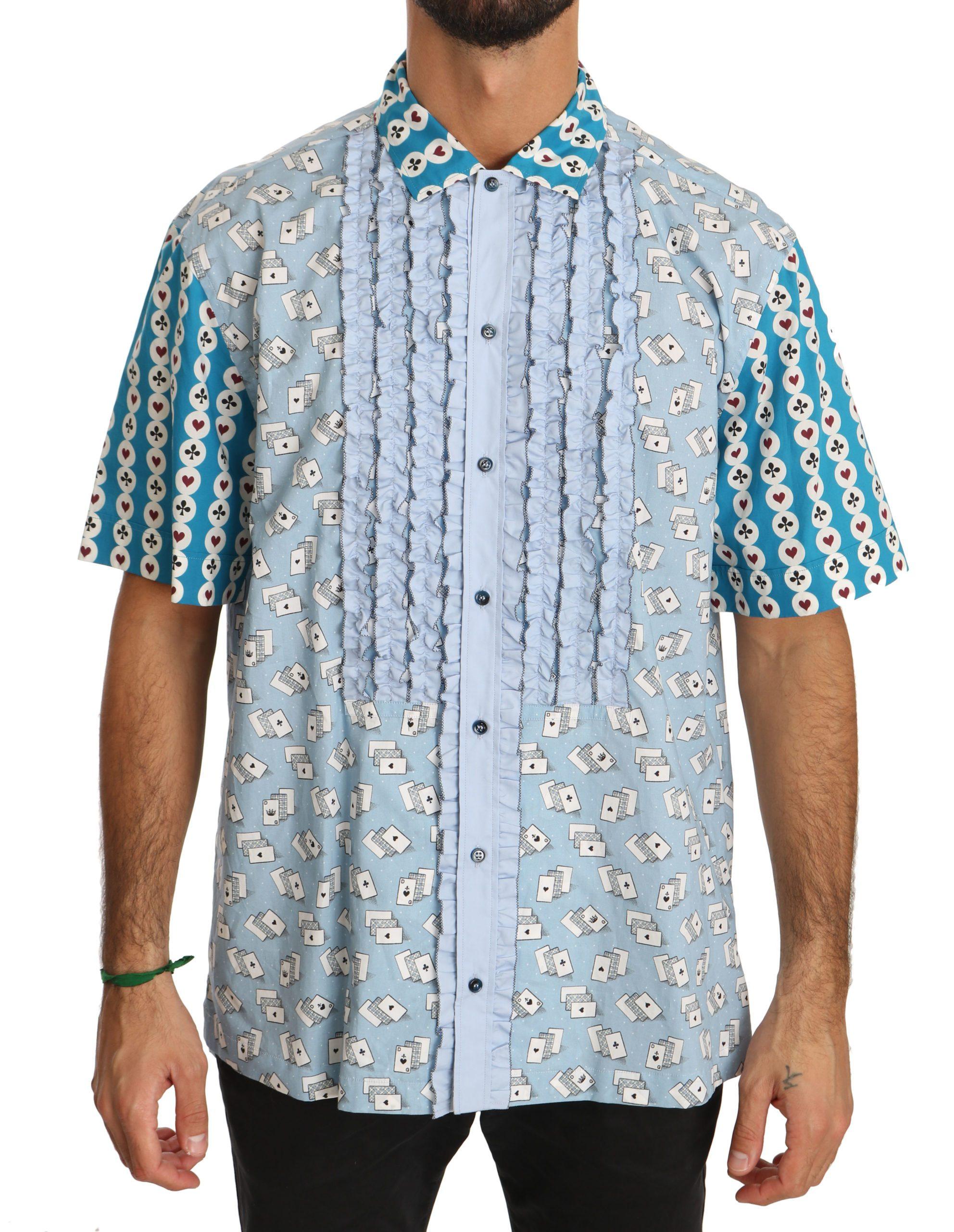 Dolce & Gabbana Men's Deck Of Card Formal Cotton Dress Shirt Blue TSH3903 - IT40   M