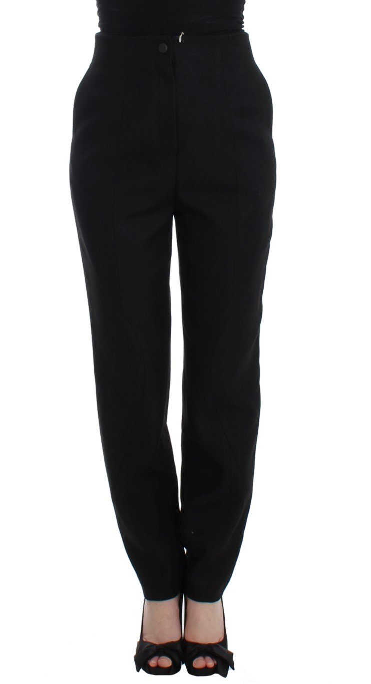 KAALE SUKTAE Women's High Waist Straight Slim Trouser Black SIG12610 - IT40|S
