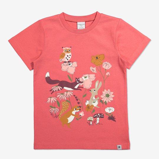 T-skjorte med trykk ceriserosa