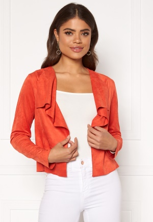 ONLY Stacy Drapy Faux Suede Jacket Spicy Orange XS