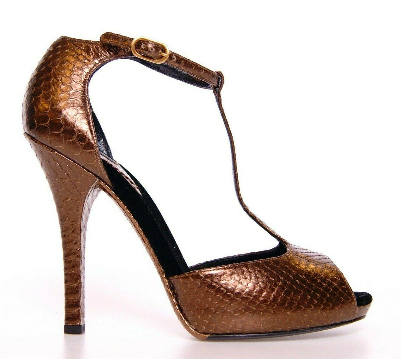 Dolce & Gabbana Women's Leather Platform Pumps Bronze LA2320 - EU39/US8.5