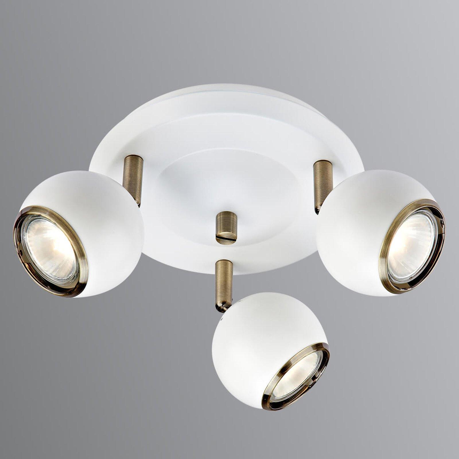 Coco - sirkelformet takspot i hvitt, tre lys