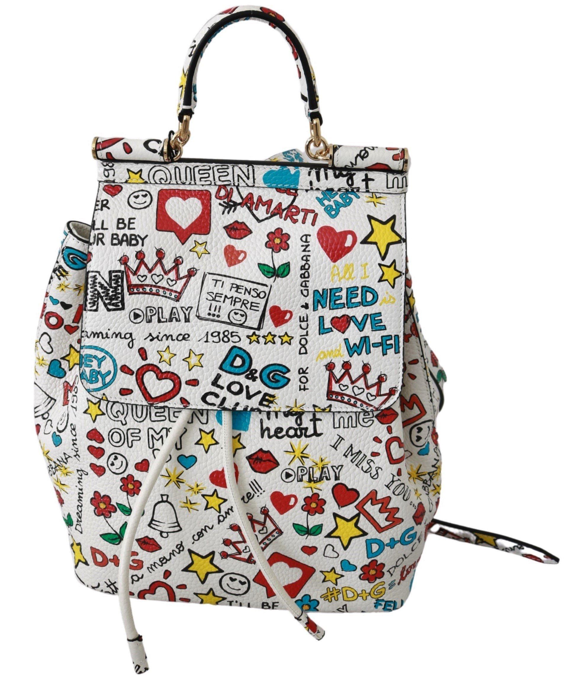 Dolce & Gabbana Women's Leather SICILY Backpack White VAS9227