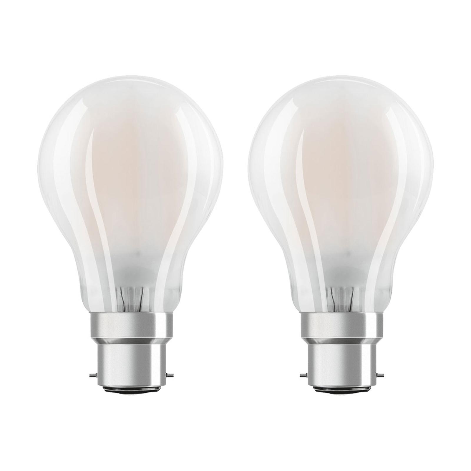 OSRAM-LED-lamppu B22d Classic 827 7W 2 kpl matta