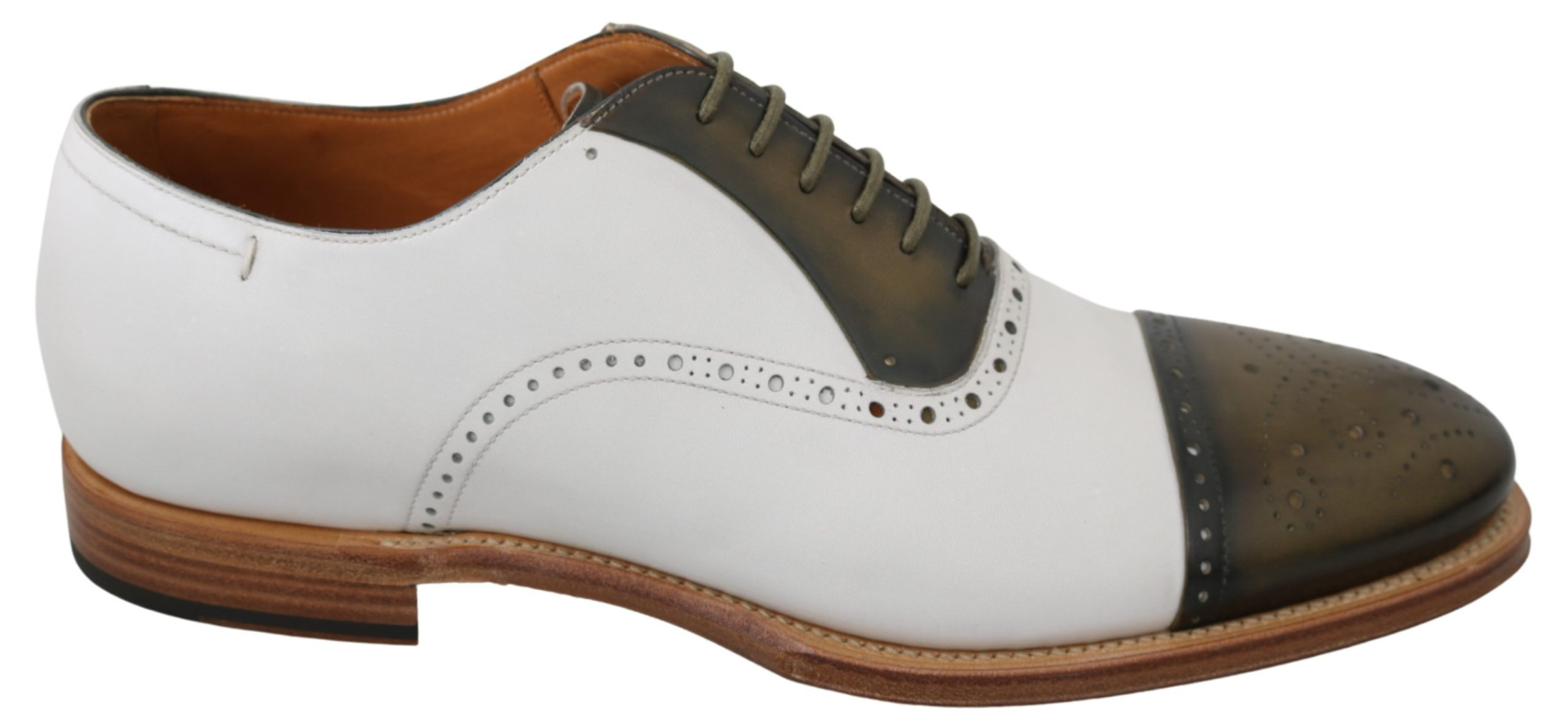 Dolce & Gabbana Men's Leather Derby Brogue Shoe White MV2882 - EU44/US11
