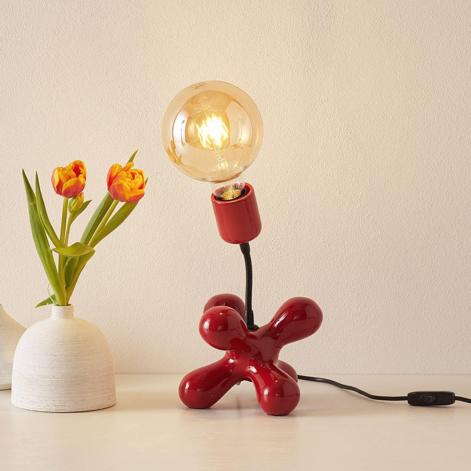Keramisk bordlampe L181 med fleksarm, rød blank