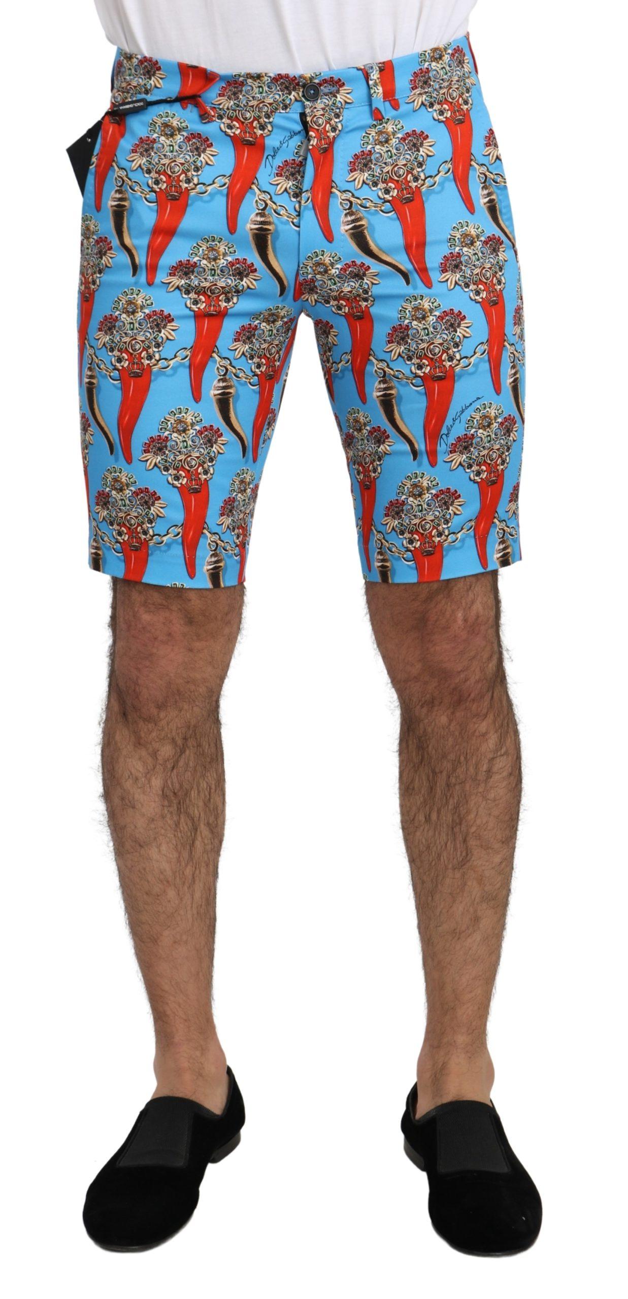 Dolce & Gabbana Men's Cotton Stretch Casual Royal Chili Shorts Blue PAN71284 - IT44 | XS