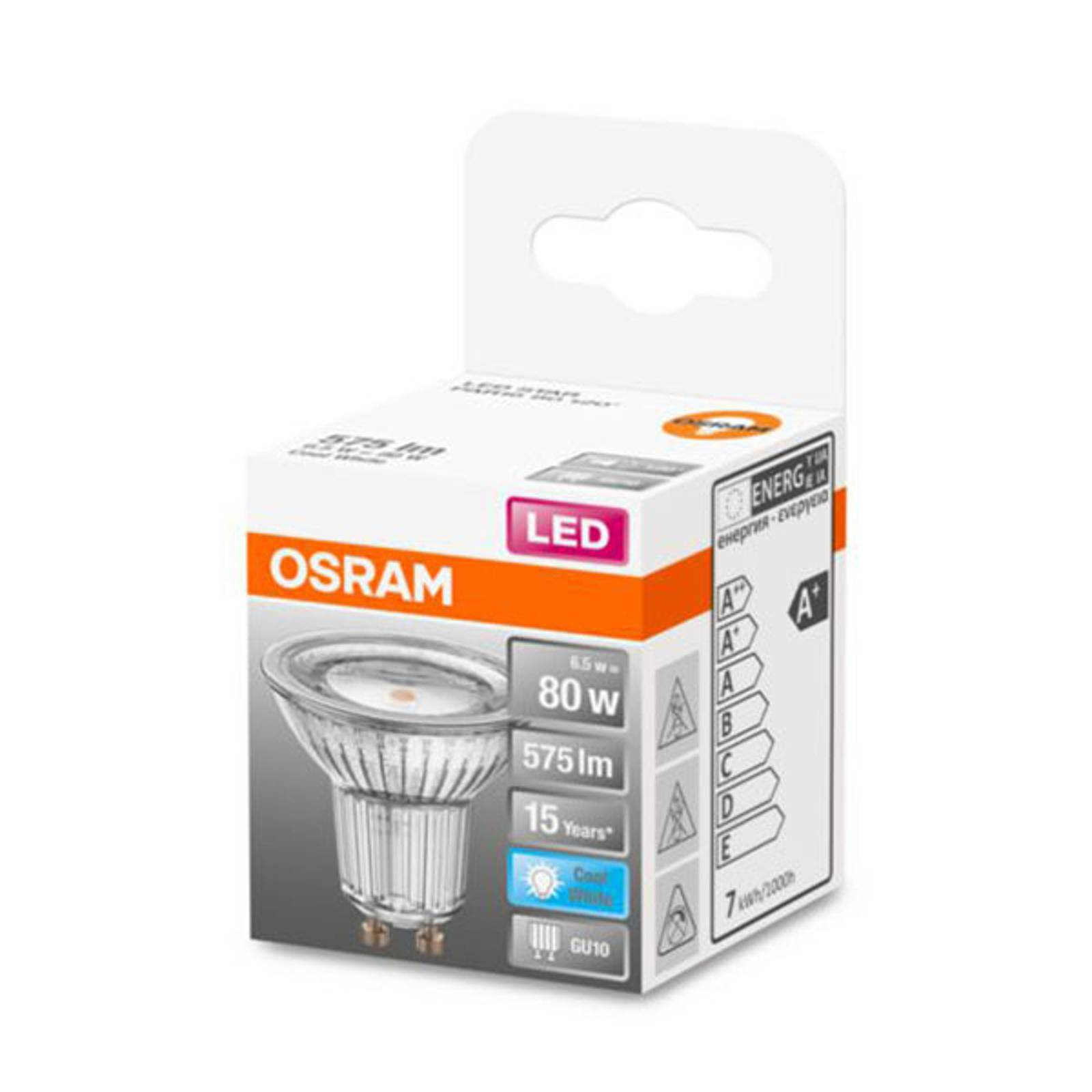OSRAM-LED-heljastin GU10 6,5W, perusvalkoinen 120°