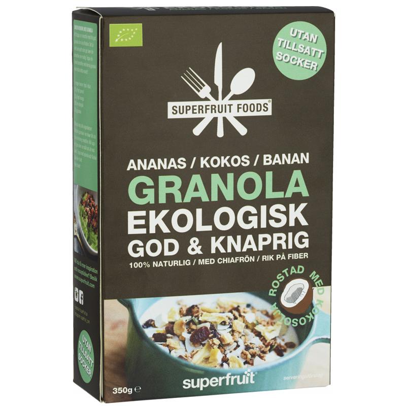 "Luomugranola ""Ananas, Kookos, Banaani"" 350g - 30% alennus"