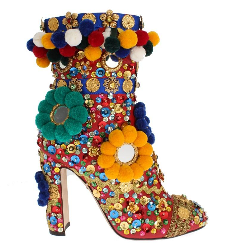 Dolce & Gabbana Women's Leather Crystal Sequined Crystal Boots Multicolor LA2679 - EU36/US5.5