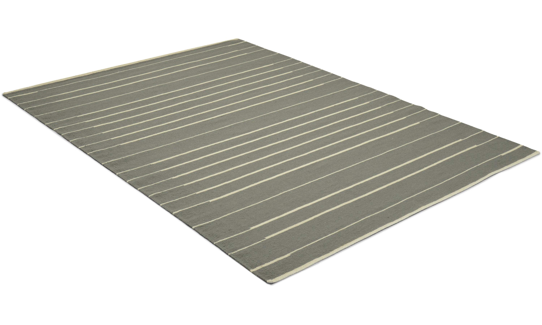 Piano grønn Linie Design - håndvevd ullteppe