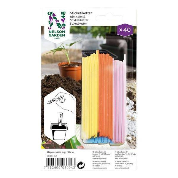 Nelson Garden 6004 Klebeetikett plast, 4 farger, 4x 10 stk.