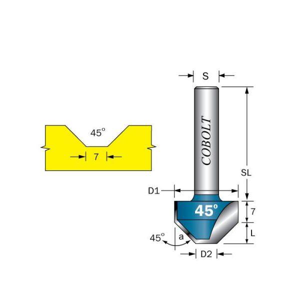 Cobolt 209-450 Viisteytysjyrsin D1=21 D2=7