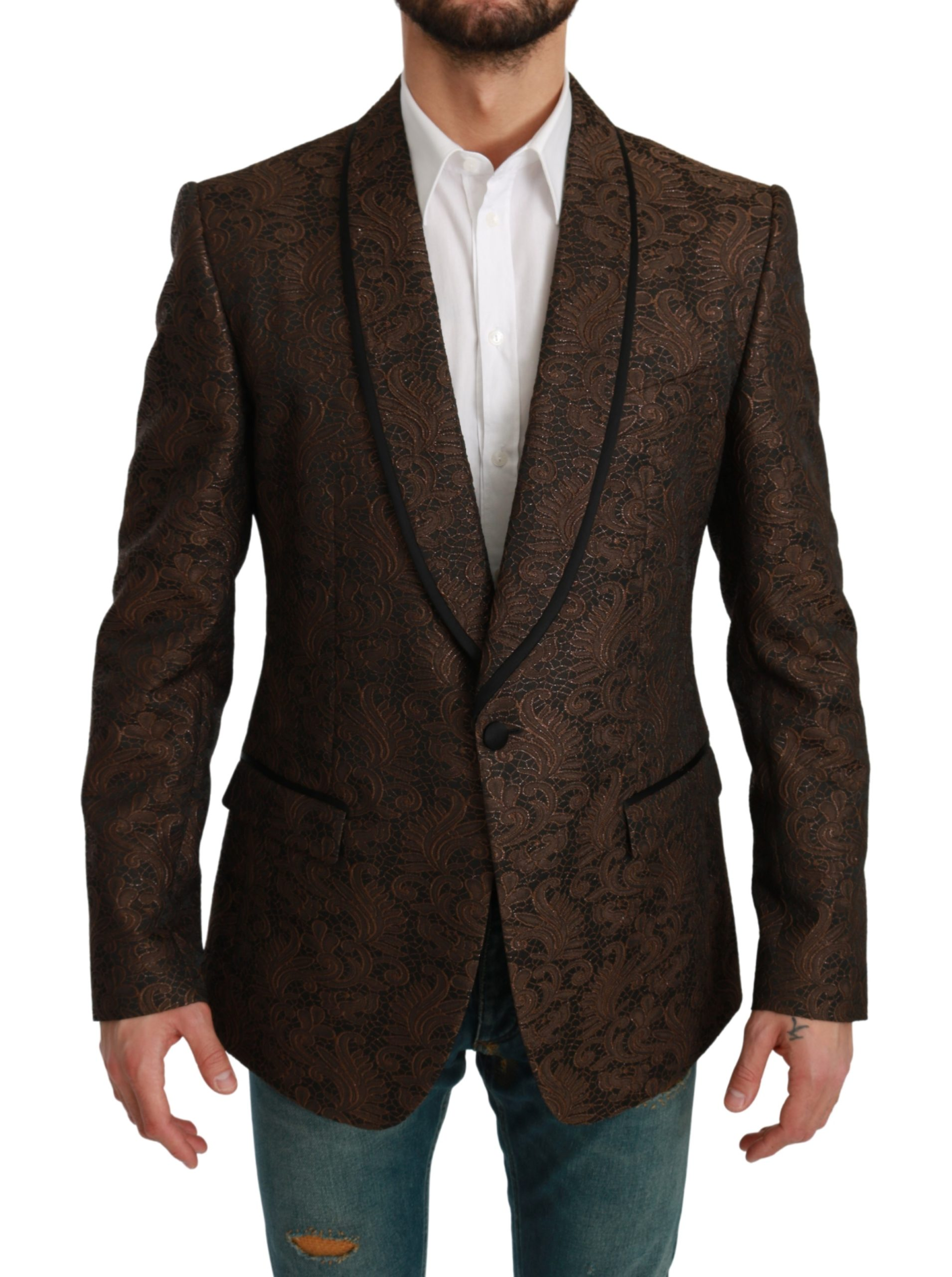 Dolce & Gabbana Men's Lace Slim Fit MARTINI Blazer Brown KOS1705 - IT52 | L