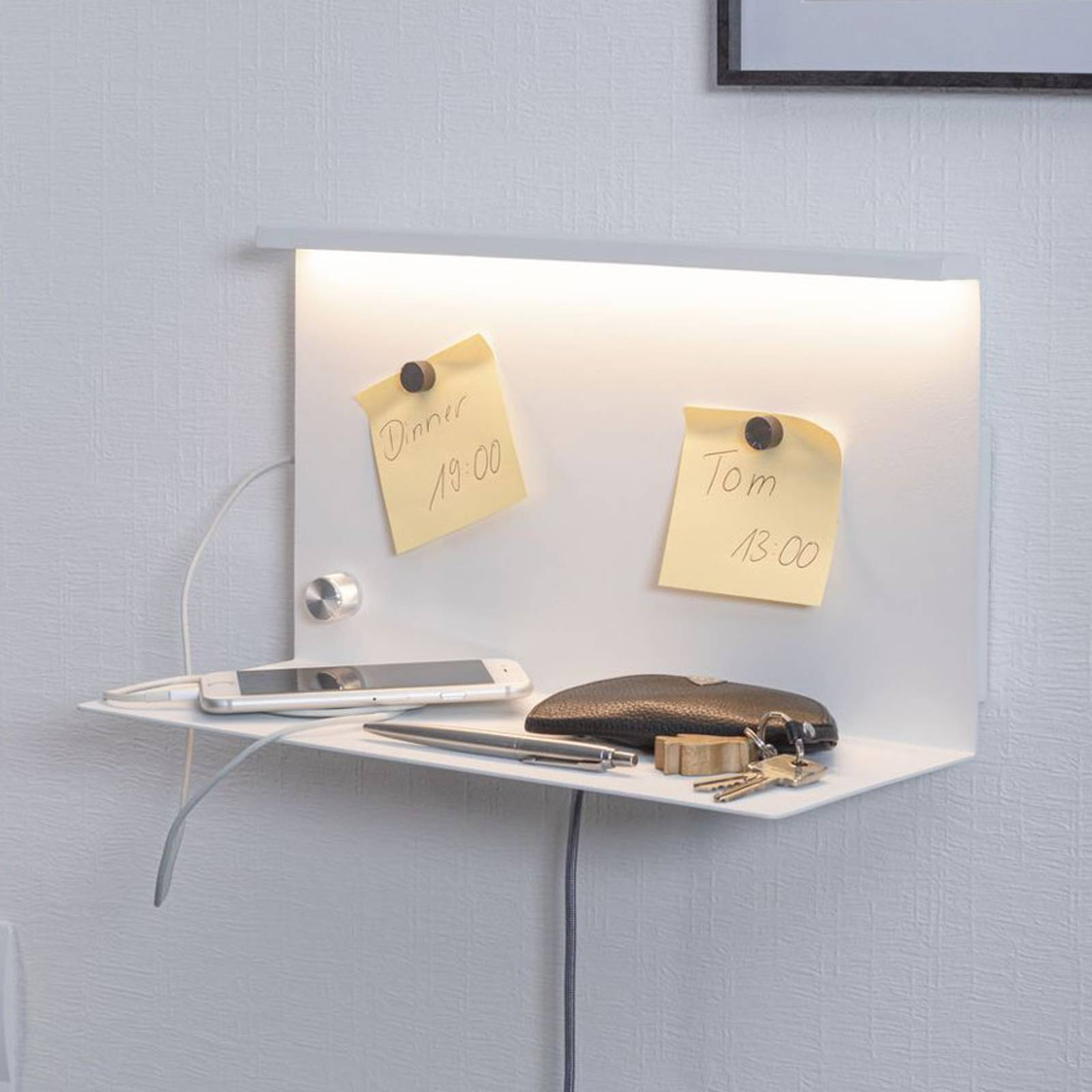 Paulmann Jarina -LED-seinävalaisin ja säilytystaso