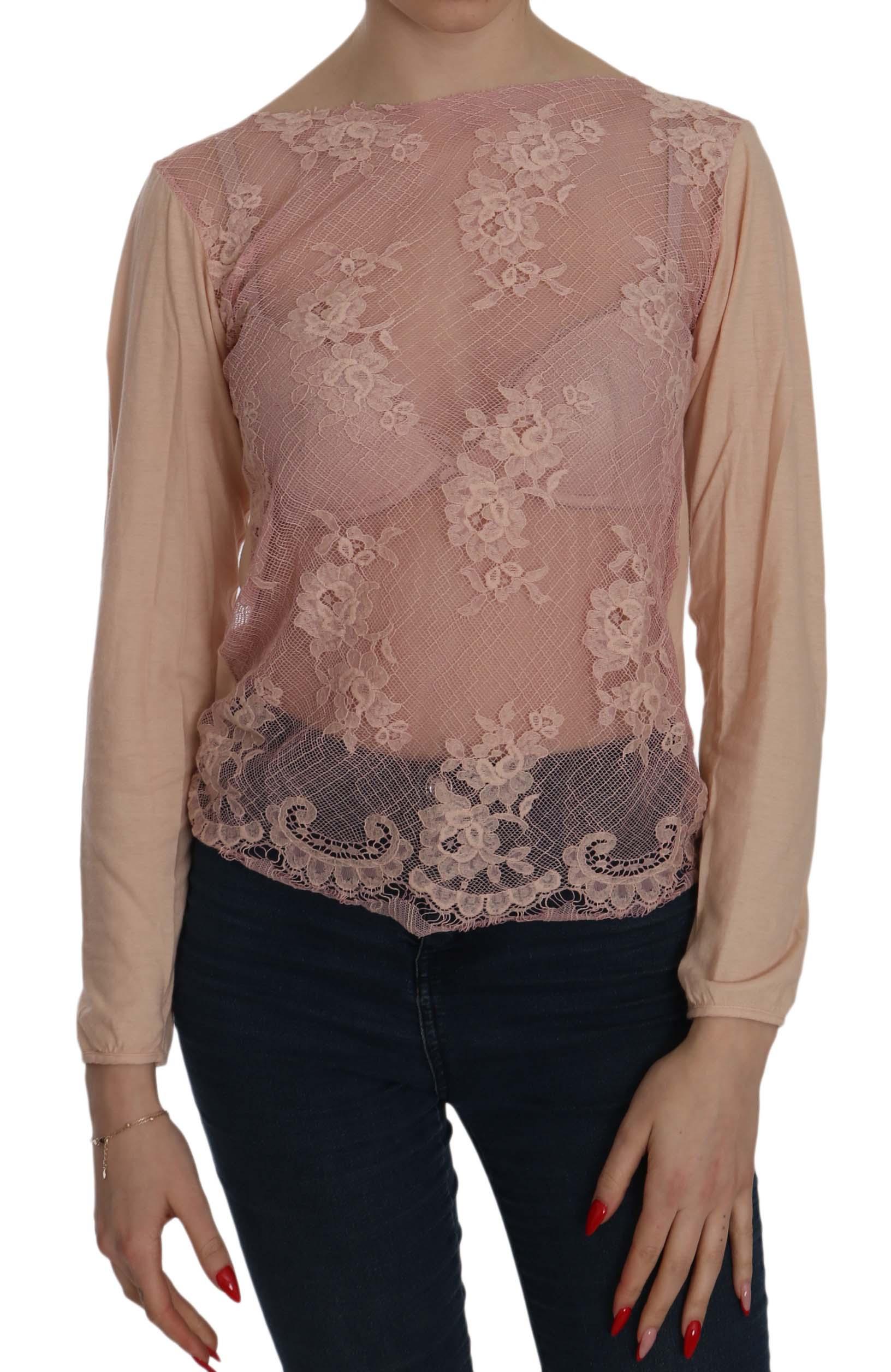 PINK MEMORIES Women's Lace See Through LS Top Pink TSH3907 - IT44 L