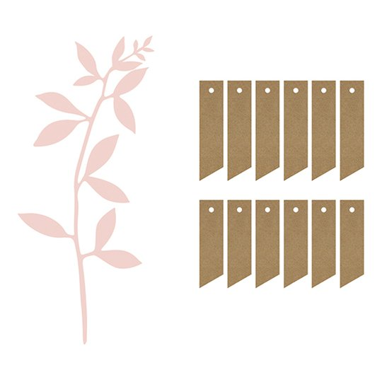 Etiketter Gren med Blad - 6-pack