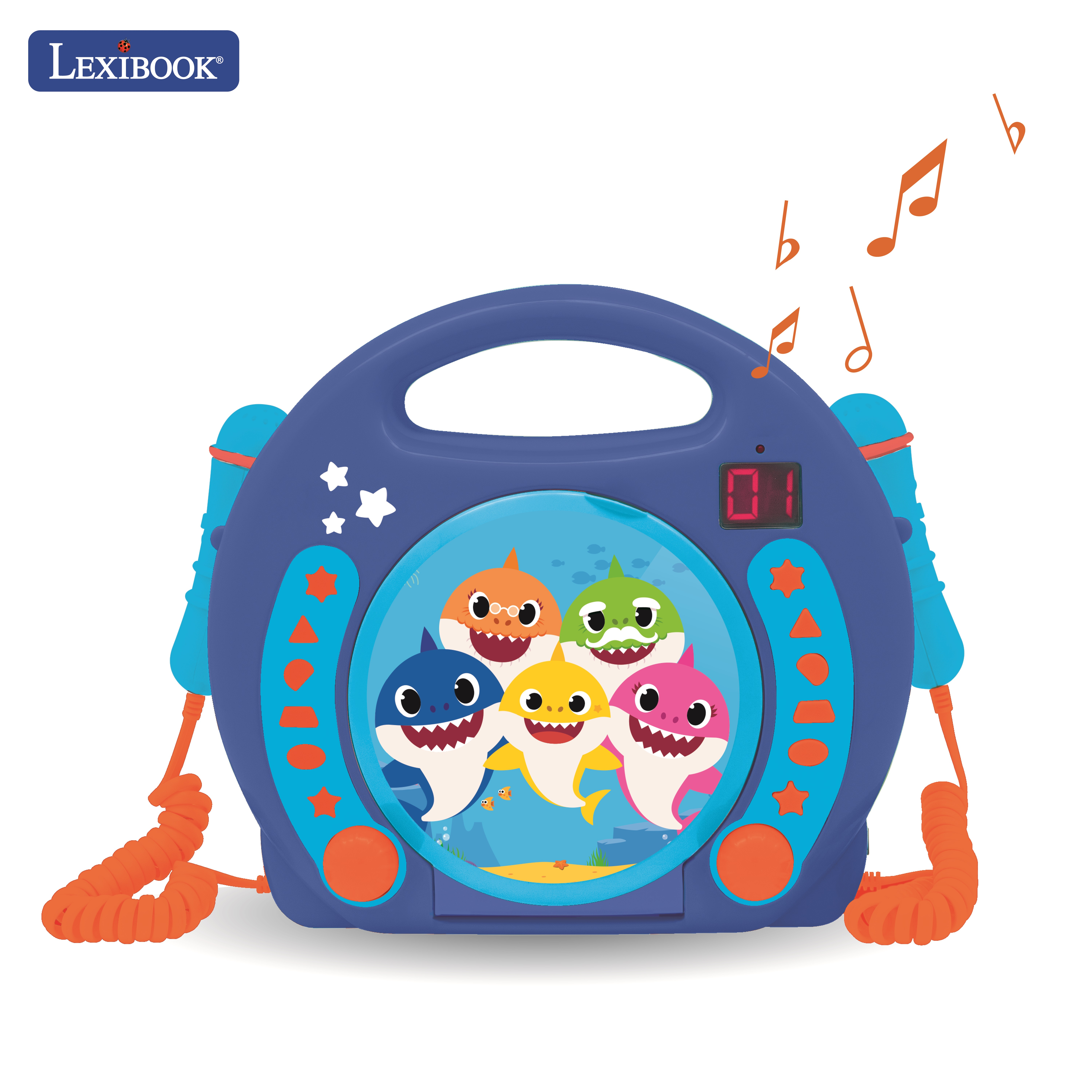 Lexibook - Baby Shark Portable CD player with 2 Sing Along microphones (RCDK100BS)