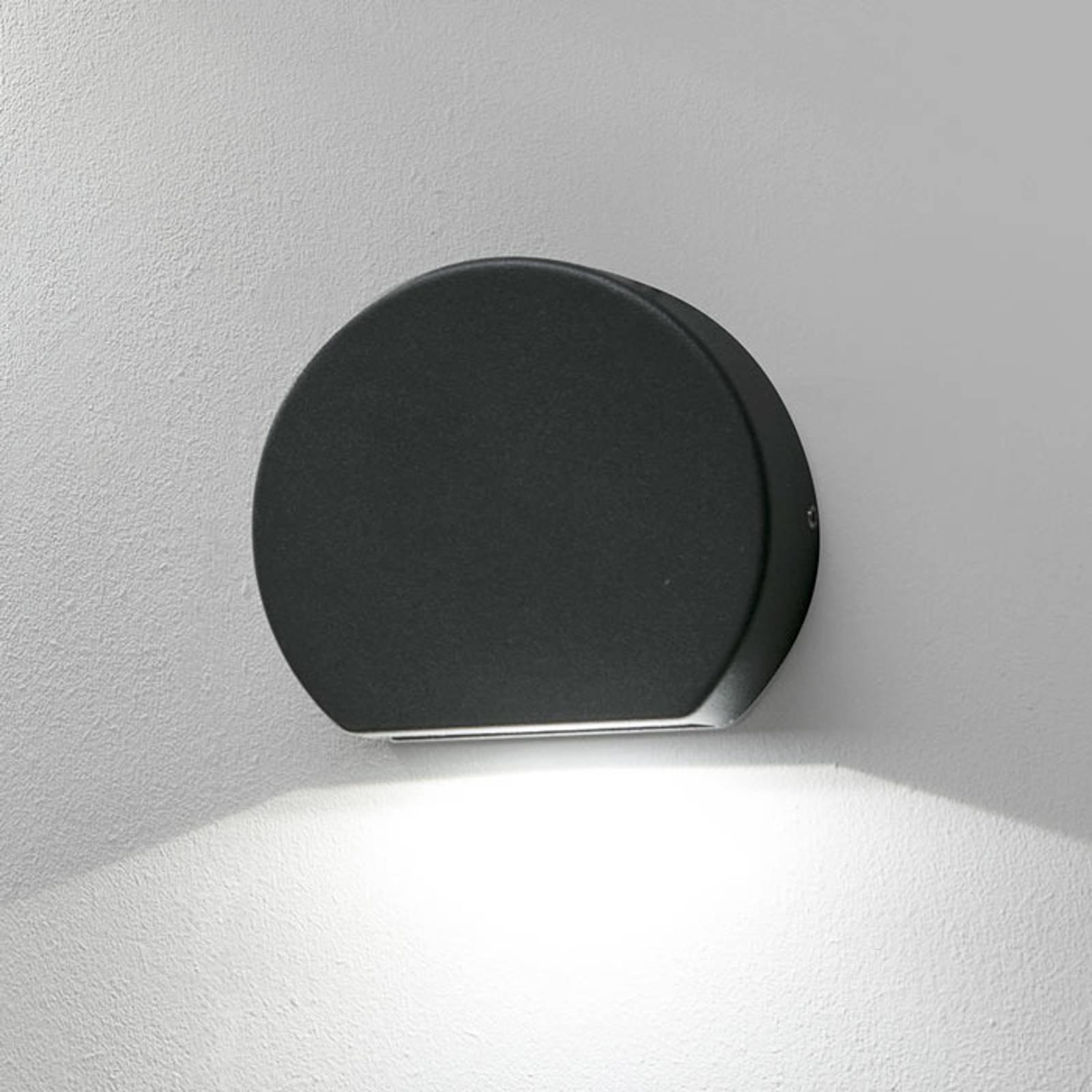 Rund utendørs LED-vegglampe Pill, mørkegrå
