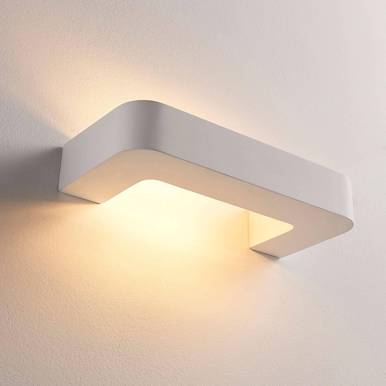 Bøyleformet LED-vegglampe Julika, hvit gips