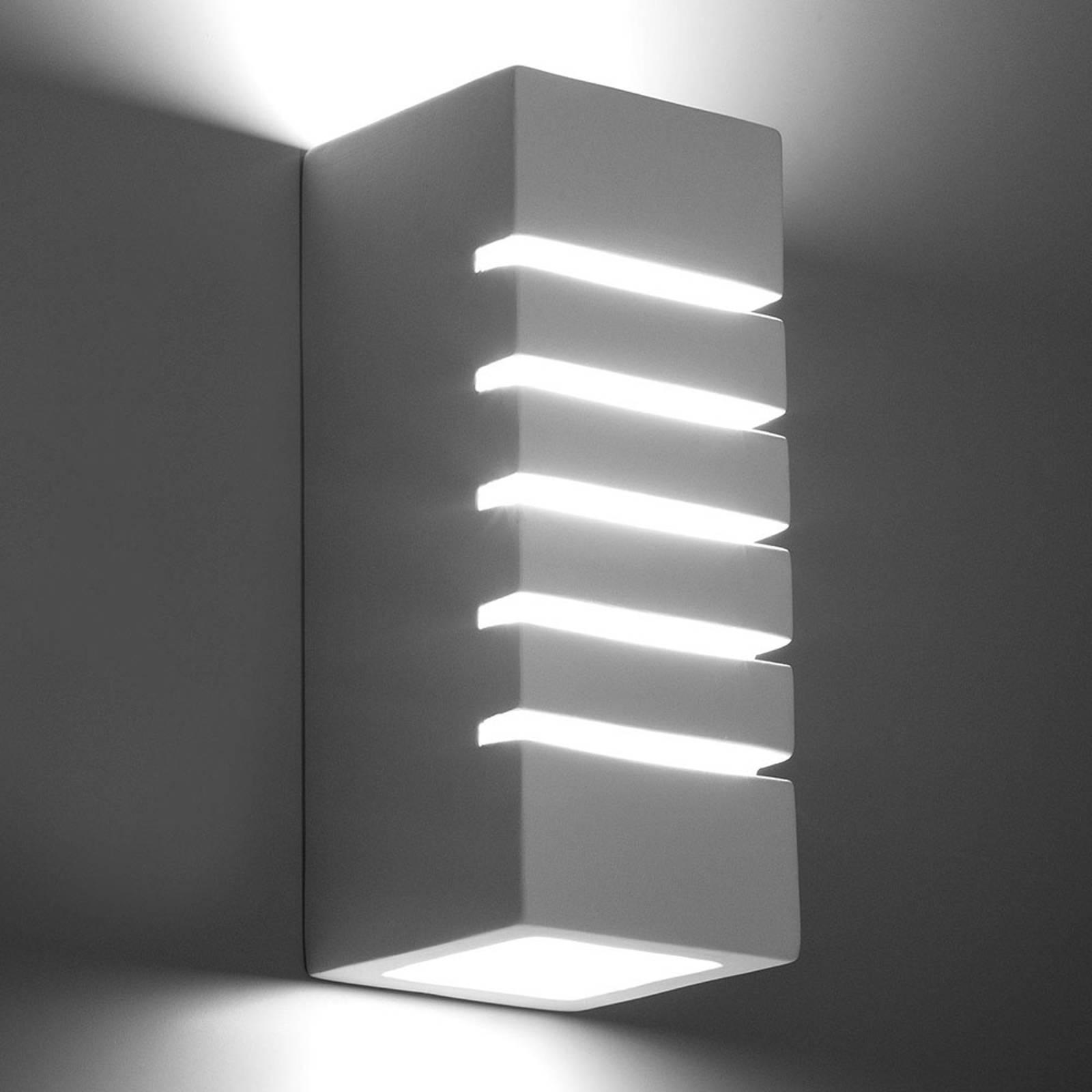Seinävalaisin Stripes keramiikkaa, valkoinen