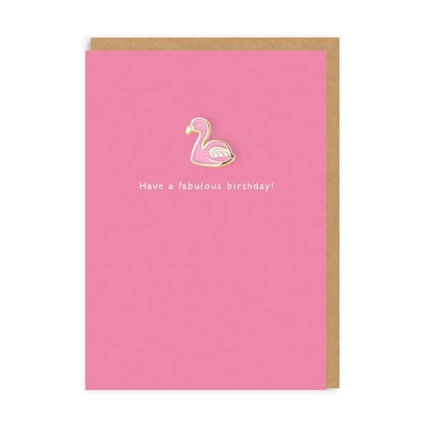 Flamingo Enamel Pin Greeting Card