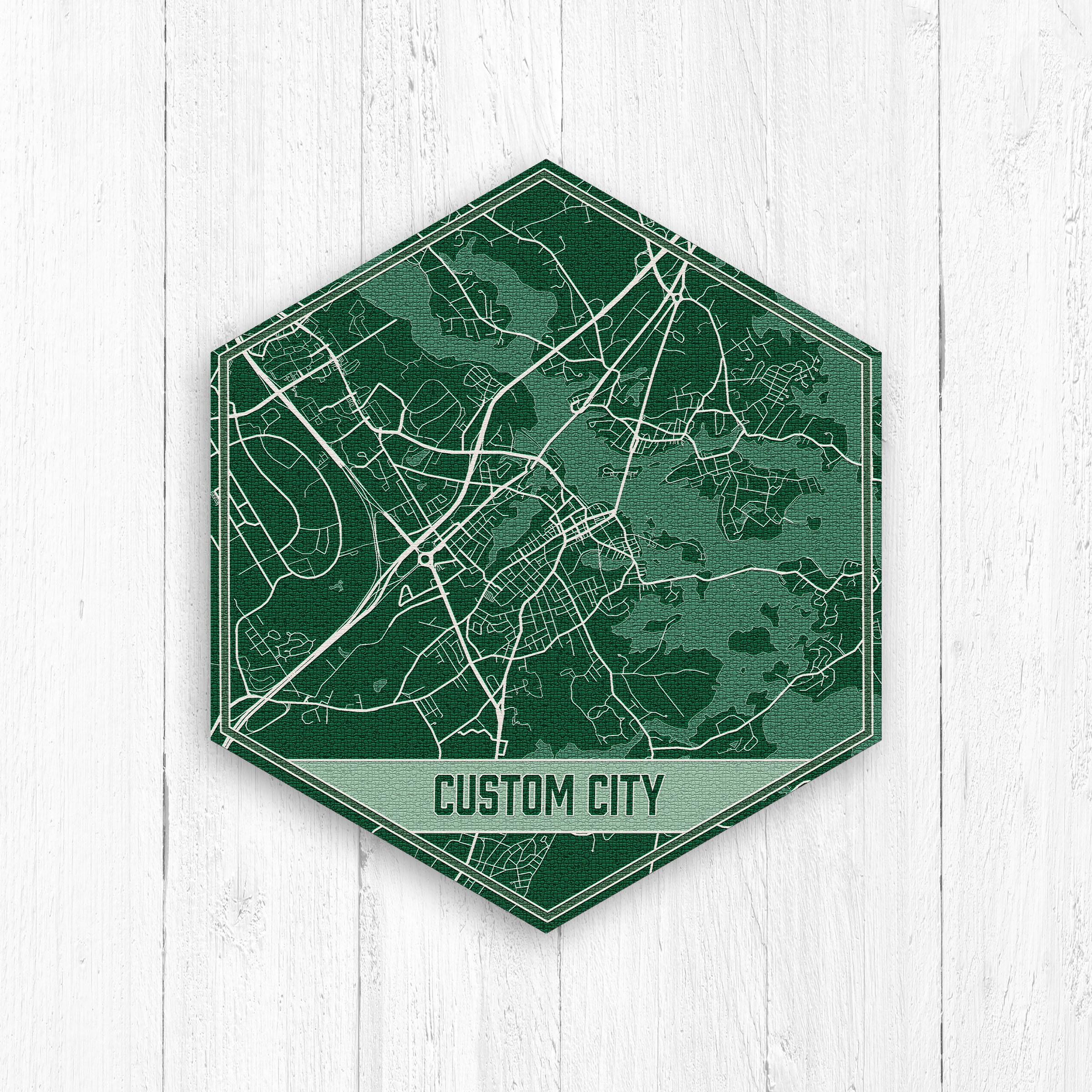 Custom Green Hexagon City Map Print By Printed Marketplace