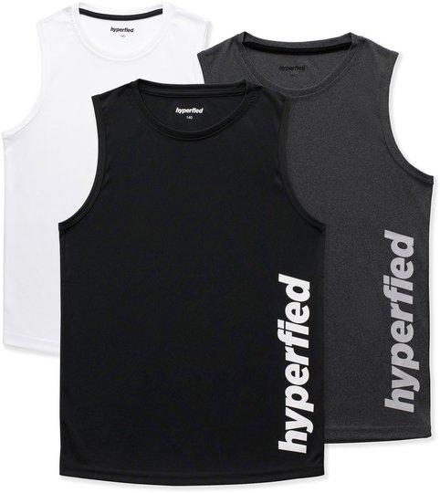 Hyperfied Bounce Tank Top 3-pack, Black/Grey Melange/White 120