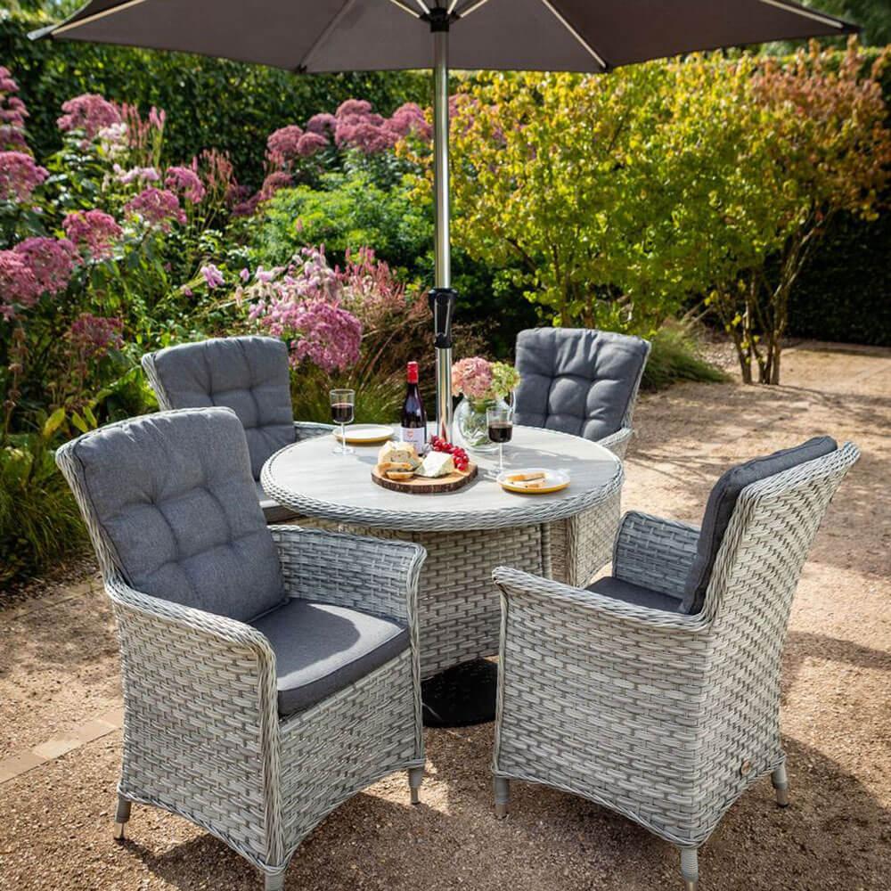2021 Hartman Heritage Tuscan 4-Seat Round Garden Dining Table Set With Parasol - Ash/Slate