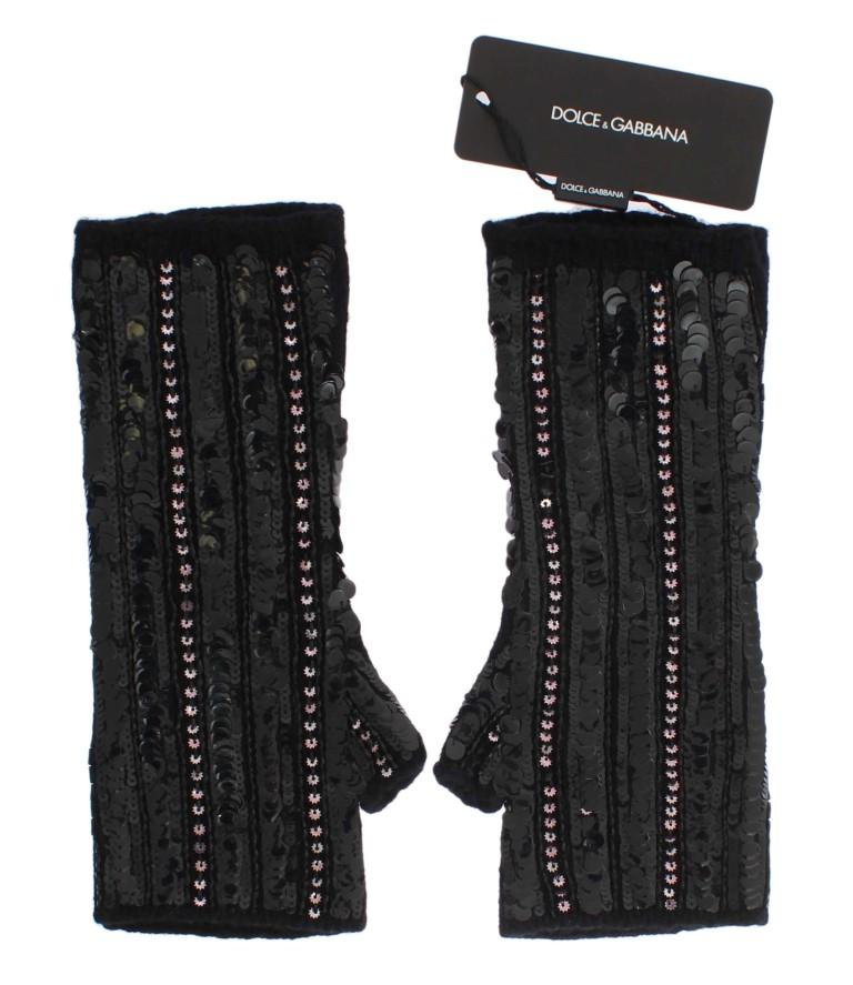 Dolce & Gabbana Women's Knitted Cashmere Sequined Gloves Black LB66 - S