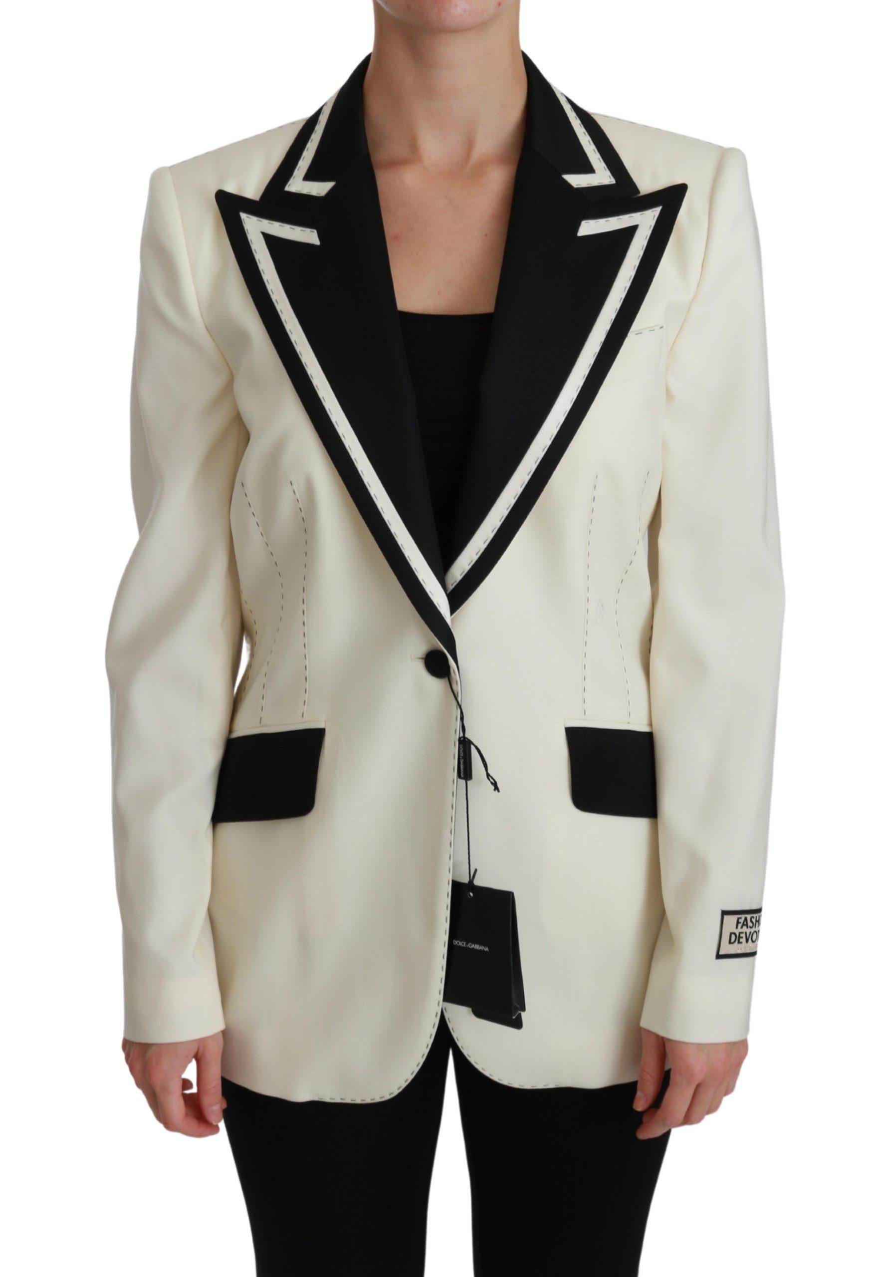 Dolce & Gabbana Women's Cream Single Breasted Blazer Jacket Cream JKT2538 - IT44|L