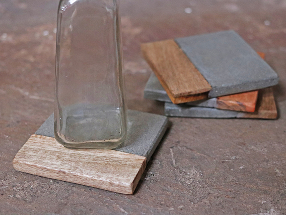 Set of 4 Cement and Wood Coasters