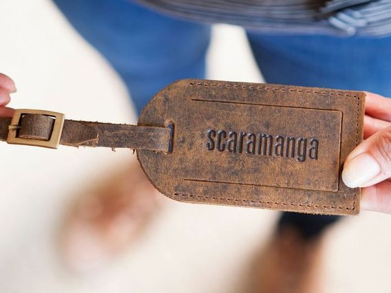 Leather Luggage Tag With Buckle Brown