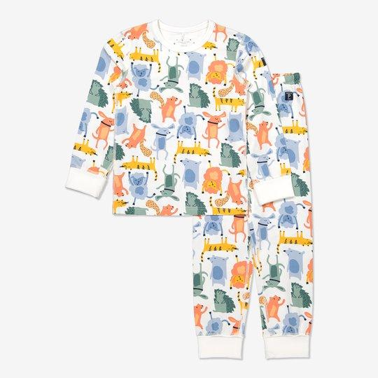 Todelt pyjamas med morsomme dyretrykk hvit