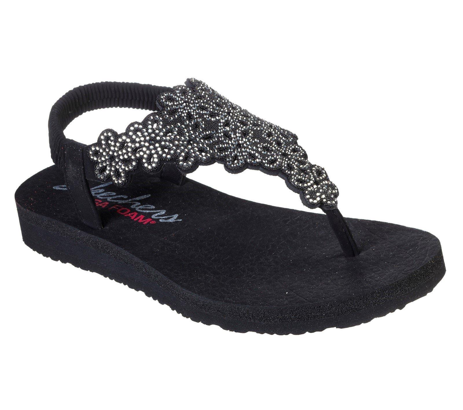 Skechers Women's Meditation Floral Summer Sandal Various Colours 32174 - Black/Silver 3
