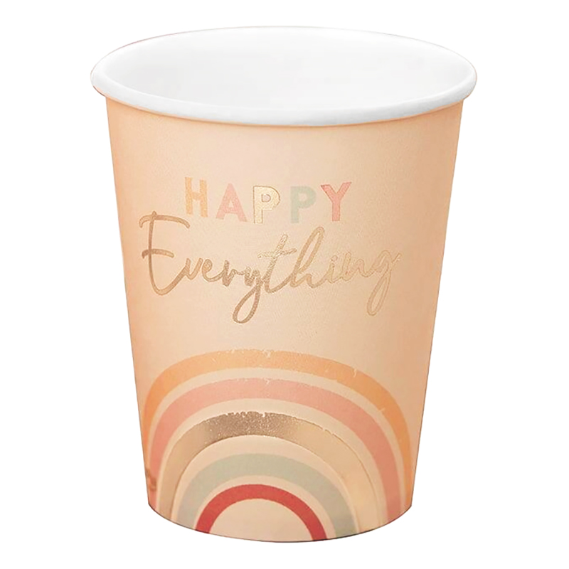 Pappersmuggar Regnbåge Happy Everything - 8-pack