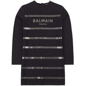 Balmain Black Branded Gold Stripe Long Sleeve Dress 10 år