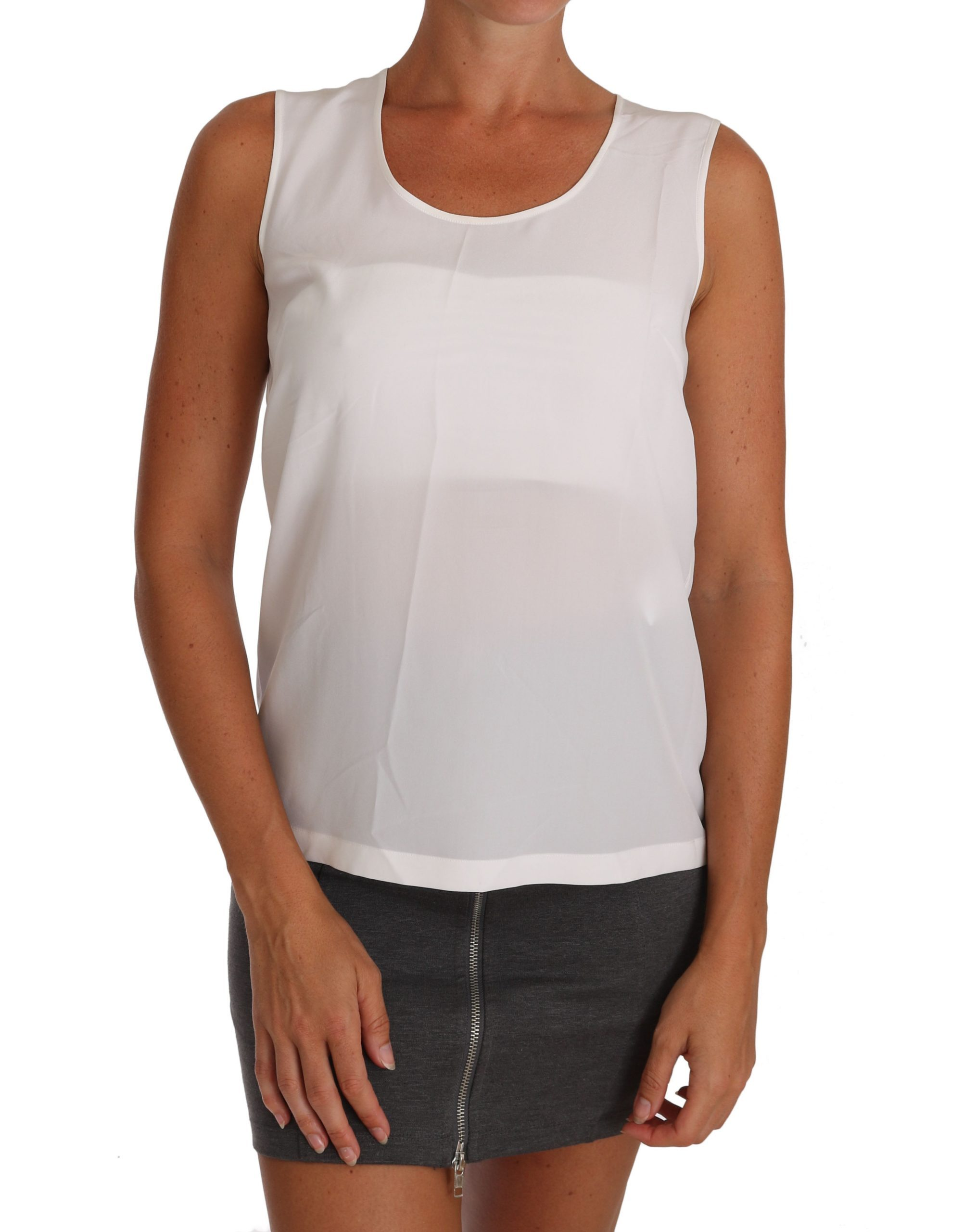 Dolce & Gabbana Women's Silk A-line Sleeveless Tops White TSH2670 - IT36|XXS